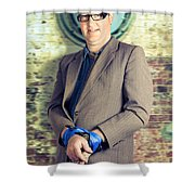 Businessman In Stress With Hands Bound Up Shower Curtain