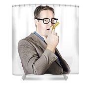 Businessman Making Cigarette Of Rolled Banknote Shower Curtain