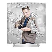 Businessman Under Falling Money. Financial Success Shower Curtain