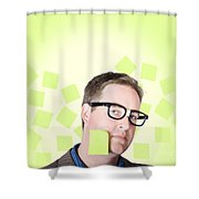 Busy Business Man With Lots Of Errands. Hard Work Shower Curtain