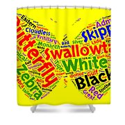 Butterfly Word Cloud Shower Curtain