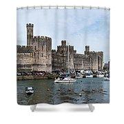 Caernarfon Castle Panorama Shower Curtain