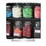 Candy In Container On Store Shelf Shower Curtain