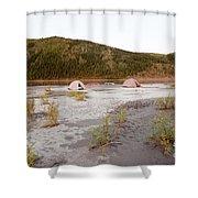 Canoe Tent Camp At Yukon River In Taiga Wilderness Shower Curtain