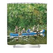 Canoeing With Grandpa Shower Curtain