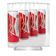 Cans Of Budweiser Beer Shower Curtain