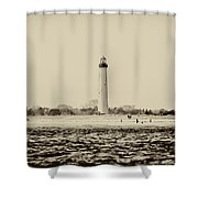 Cape May Lighthouse In Sepia Shower Curtain