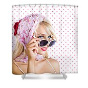Captivating Woman Looking At Fashion Copyspace Shower Curtain