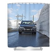 Car And Snow Wall Shower Curtain