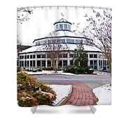 Carousel Building In The Snow Shower Curtain by Tom and Pat Cory
