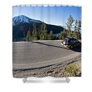 Cars Driving Along Hwy 89 Over Emerald Shower Curtain
