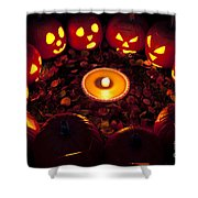 Carved Pumpkins With Pumpkin Pie Shower Curtain
