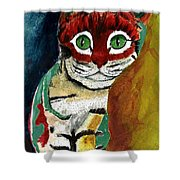 Cat Around Corner Shower Curtain