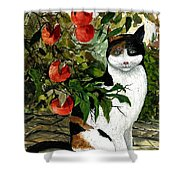 Cat On The Patio Shower Curtain