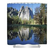 Cathedral Rock And The Merced River Shower Curtain