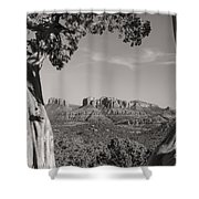 Cathedral Rock Framed By Juniper In Sedona Arizona Shower Curtain
