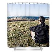 Caucasian Traveler Relaxing On Grass Outdoors Shower Curtain