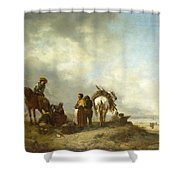 Seashore With Fishwives Offering Fish Shower Curtain