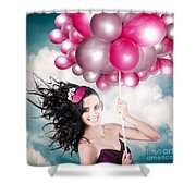 Celebration. Happy Fashion Woman Holding Balloons Shower Curtain