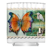 1 Cent Butterfly Stamp Shower Curtain