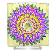 Chakra Energy  Mandala Ancient Healing Meditation Tool Stained Glass Pixels  Live Spinning Wheel  Shower Curtain