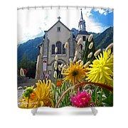 Chamonix Church Shower Curtain