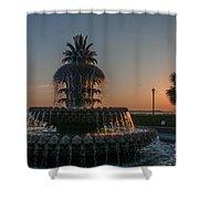 Pineapple Fountain Charleston Sc Sunrise Shower Curtain