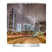 Charlotte Nc Usa Skyline During And After Winter Snow Storm In January Shower Curtain