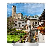 Chatelard Village With Castle Shower Curtain