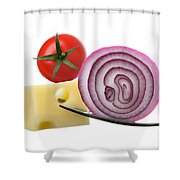 Cheese Onion And Tomato On Forks Against White Shower Curtain