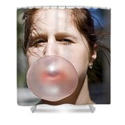 Chewing Gum Lady Shower Curtain
