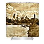Chicago In Sepia Shower Curtain