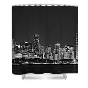 Chicago Skyline At Night Black And White Panoramic Shower Curtain by Adam Romanowicz