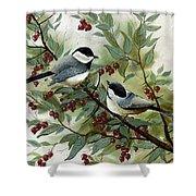 Chickadees And Cherries Shower Curtain