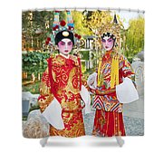 Children Dressed In Full Traditional Chinese Opera Costumes. Shower Curtain