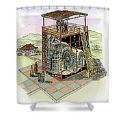 Chinese Astronomical Clocktower Built Shower Curtain