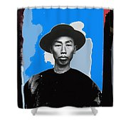 Chinese Man In Traditional Dress Circa 1882 Collage Tucson Arizona 1882-2013 Shower Curtain