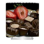 Chocolate On Plate With Strawberry Shower Curtain