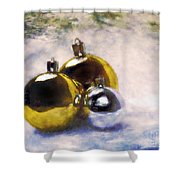 Christmas Balls Artistic Vintage Painting Shower Curtain