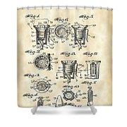 Christmas Bulb Socket Patent 1936 - Vintage Shower Curtain