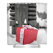 Christmas Down On The Farm Shower Curtain by Edward Fielding