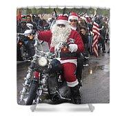 Christmas Toys For Tots Santa On Motorcycle Casa Grande Arizona 2004 Shower Curtain