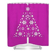 Christmas Tree Made Of Snowflakes On Pink Background Shower Curtain
