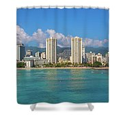 City At The Waterfront, Waikiki Shower Curtain