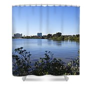 City Of Melbourne On The Intracoastal Waterway In Central Florid Shower Curtain