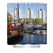 City Of Rotterdam Cityscape In Netherlands Shower Curtain