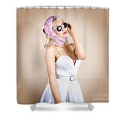 Classical Pinup Girl Posing In Retro Fashion Style Shower Curtain
