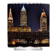 Cleveland Skyline At Night Shower Curtain
