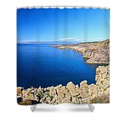 cliff in San Pietro Island Shower Curtain