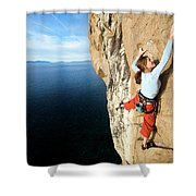 Climber Grabs A Hold While Climbing Shower Curtain